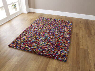 Pebble Effect Hand Knotted 100% Wool Rug 150cm x 230cm Multi Coloured CLEARANCE