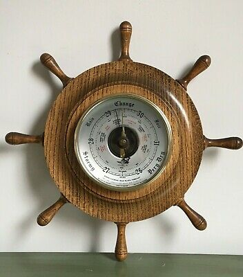 Vintage Wooden Wall Barometer Ships Wheel Sb Shortland Smith Made In England