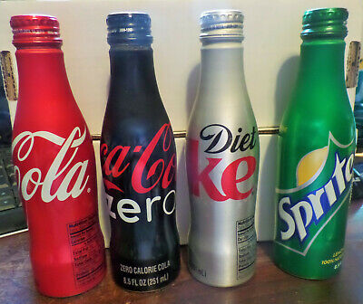 Set of 4 - 8.5 oz Aluminum Bottles Coca-Cola , Diet Coke, Coke Zero & Sprite