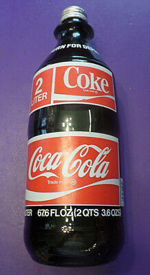 VINTAGE 2 LITER COKE COCA-COLA BOTTLE WITH CAP  1970's ERA  67.6 oz FULL SEALED