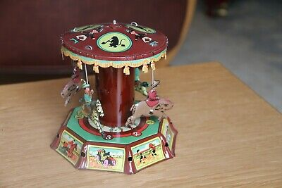 """5 1/2"""" High Vintage Tin Plate Clockwork Roundabout - Working with key"""