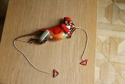"""9"""" Vintage Tin Plate Monkey Climbing a Rope - Marked Made in China MS 218"""