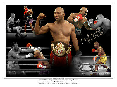 Evander Holyfield  Signed 12x16 Boxing Montage: