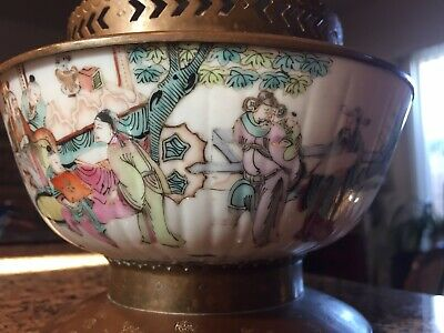 """Chinese antique oil lamp 4 1/2"""" X 61/2"""" Ingraved Brass, Porcelain Bowl Painted F"""