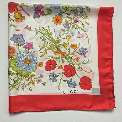 New Authentic Gucci Floral Print Multi-Color Red Border 100% Silk Scarf