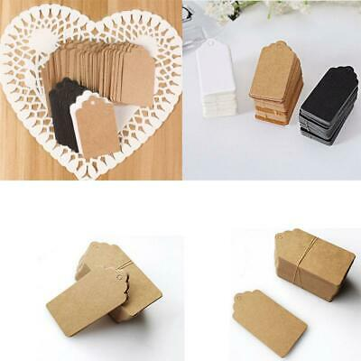 100Pcs/Pack Kraft Paper Gift Tags Wedding Scallop Label Blank Luggage Tag 4*2cm
