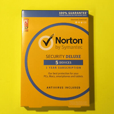 Norton Security Deluxe 5Devices 2018 PC/MAC/Phone Retail Box Key Card +2019 upg