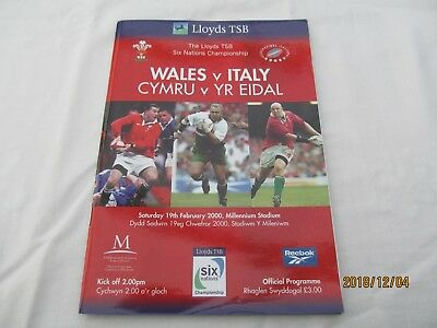 Wales v Italy. 2000. Rugby Union. Programme + Event Tickets