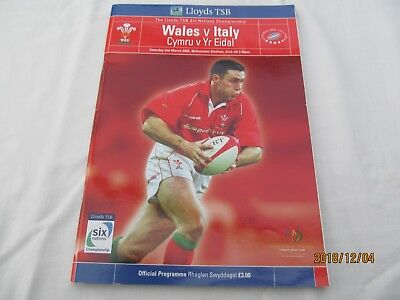 Wales v Italy. 2002. Rugby Union. Programme + Event Tickets.