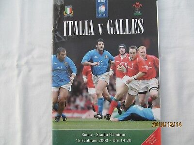 Italy v Wales. Rugby Union 2003. Programme.