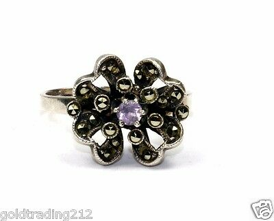 925 Sterling Vintage Purple Crystal Flower Floral Marcasite Ring Sz 7.75 Rg 1218