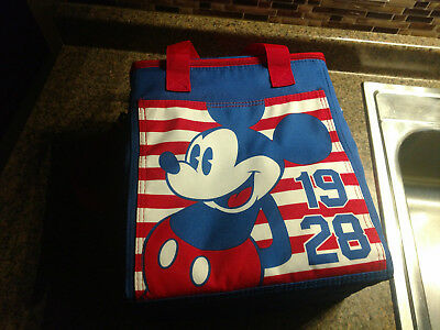 bce9536cc3f Disney Store Mickey Mouse 1928 Cooler Bag Lunch Snack Tote New Blue Red WDW