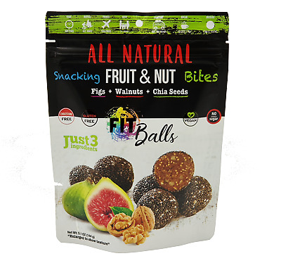100% Natural Fit Balls,Fruit & Nut Snacking Bites Dates, Figs, Walnut Chia Seeds