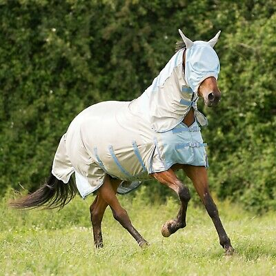 Gallop Silver Blue All In One Horse or Pony Fly Rug with Neck Inc Free Mask