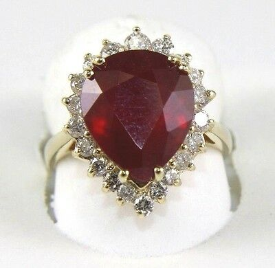 Red Pear Cut Ruby & Diamond Halo Solitaire Ring 14k Yellow Gold 8.74Ct