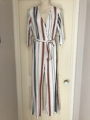 Brand New Shein Striped Wide Leg Jumpsuit Playsuit, Size 10, Rrp $66.95