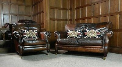 Victorian Style Cigar Brown Leather 2 Piece Suite 2 Seater Club Sofa & Armchair