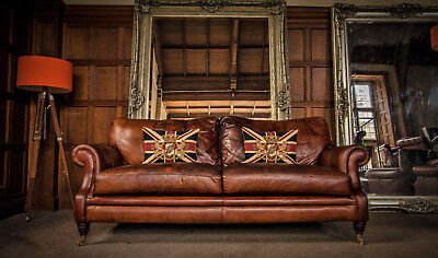 Victorian Style Chestnut Antique Hand Dyed Tan Brown Leather 3 Seater Club Sofa