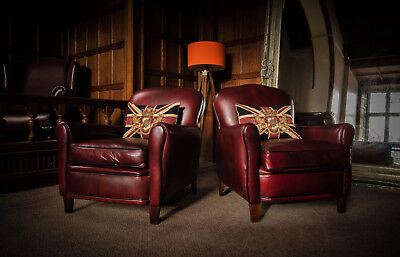 PAIR o FRENCH ANTIQUE CHESTNUT LEATHER OLD BOOT CHESTERFIELD CLUB LIBRARY CHAIRS