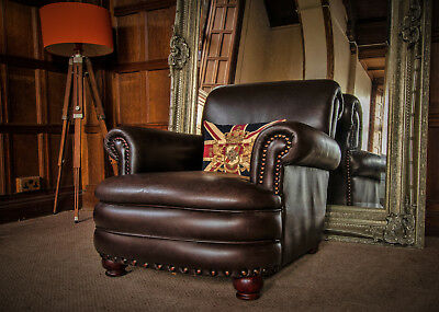 FRENCH CIGAR ANTIQUE BROWN DISTRESSED LEATHER CHESTERFIELD CLUB CHAIR 2 of PAIR