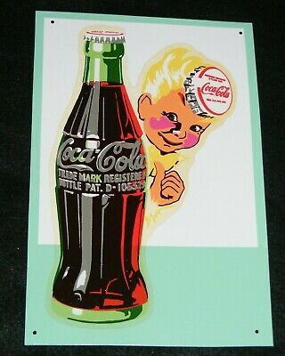 COCA COLA SIGN VTG DECAL SPRITE BOY YELLOW HAIR with BOTTLE ON NEW METAL NICE!