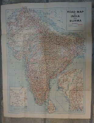 Road Map of India and Burma--1940's