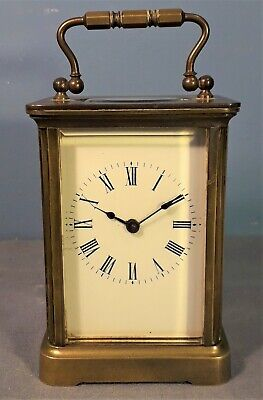 Vintage French Brass Carriage Clock with Bevelled Edge Glass