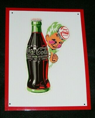 COCA COLA SIGN VTG DECAL SPRITE BOY with BOTTLE ON NEW METAL NICE!