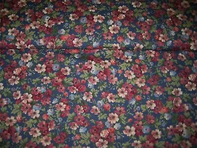 Pink blue tiny roses flowers allover on blue Concord Fabric Kesslers by the yard