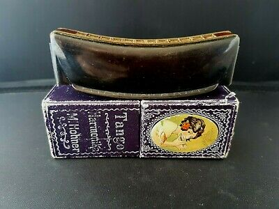 "Art Deco vintage Hohner ""Tango"" mouth organ c1930's + lady illustrated box"