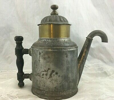 Antique Rare 1888 Paine Diehl Silverplate Copper Self Pouring TeaPot Wood Handle