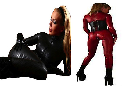 Black Red Snake Skin Pattern Catsuit Bodysuit Cotton Clubwear Events UK 8 - 18