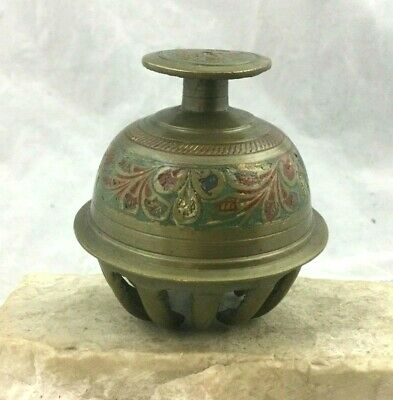 Vintage Sm Brass Elephant Claw Buddhist Temple Bell India Inset Enamel Design