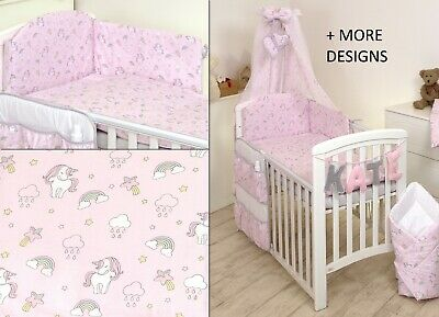 Unicorn On Pink Baby Bedding Set Cot 120X60-Cot Bed140X70 -Bumper+Covers+Duvet