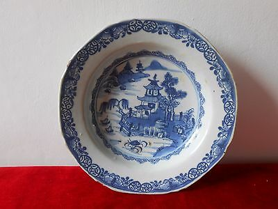 Antique chinese export porcelain plate...Blue cameo.Pagoda and river