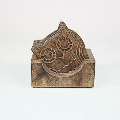 Set of 6 Wooden Owl Coasters Rustic Brown Wood Drinks Coaster Set With Holder