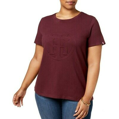 TOMMY HILFIGER Women's Plus Size Cotton Embossed Logo Tee Casual Shirt Top TEDO