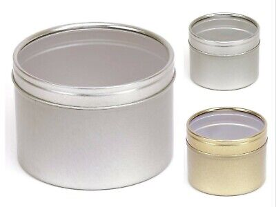 Round Metal Tins Silver Gold Clear Lids for candle making 4 oz & 8 oz, Food Safe