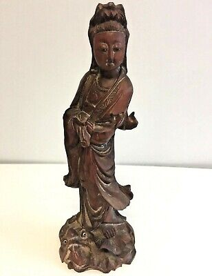 """Vintage Wooden Hand Carved Asian Woman Buddha Empress Dragon At Feet 12"""" (31cm)"""