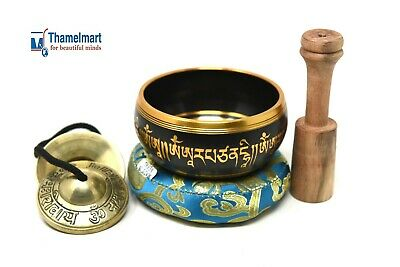 "4"" Tibetan MeditationYoga Singing Bowl Set with Mallet, Cushion Tingsha cymbals"