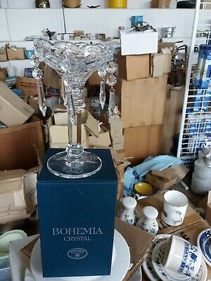24% Lead Crystal Candleholder 20cm , with 5 Crystal Droplets.