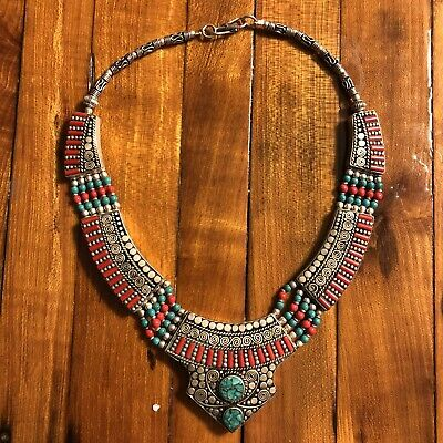 Islamic Middle Eastern Antiqur Style Necklace Coral Turquoise Silver Tone Fine
