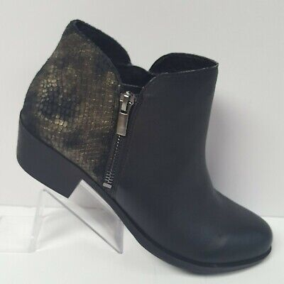 c49dada0cae LUCKY BRAND BLARE Black Leather Side Zip Ankle Boot Snakeskin Texture Size  7.5 M