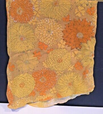 """Beautiful Vintage Floral Tablecloth_Oval 78"""" x 58"""" _Cotton_Yellow Orange_Mod"""