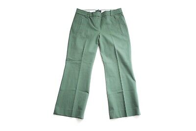 J. Crew Teddie Cropped Kicky Leg Casual Stretch Pants Zip Pocket - Green - Sz. 6