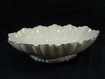"Lenox Symphony 10"" Footed Ivory Centerpiece ~Swirled, Scalloped, Platinum Trim"
