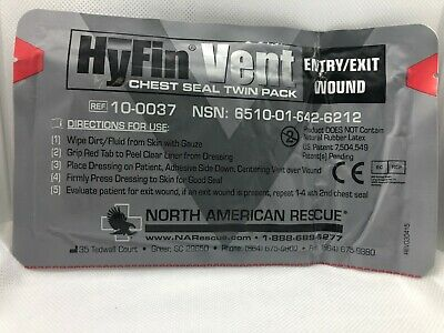 North American Rescue NAR HyFin Vented Chest Seal IFAK EMS EMT TCCC TEMS