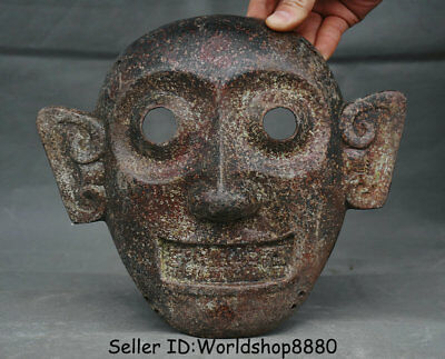 "9.4"" Rare Antique Old Chinese Bronze Dynasty Monkey People vizard mask facepiece"