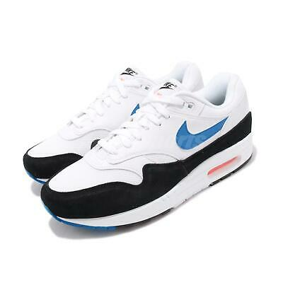 cheap for discount cecf9 bf5a2 Nike Air Max 1 White Blue Orange Mens Lifestyle Running Shoes NSW AH8145-112