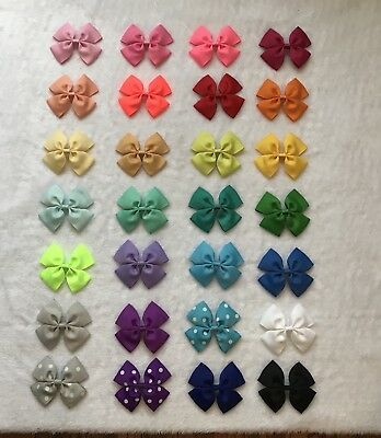 "28 Pcs Multi-color Baby Toddler Girl 3.5"" HAIR BOW ribbon ( 28 colors,no clip )"